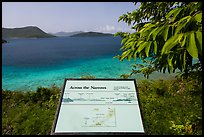 Leinster Bay and Narrows interpretive sign. Virgin Islands National Park, US Virgin Islands.