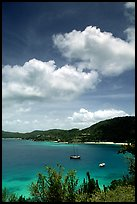 Yachts anchored in Hurricane Hole Bay. Virgin Islands National Park ( color)