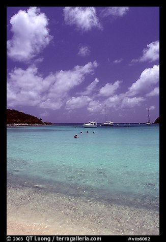 Tropical beach and yachts. Virgin Islands National Park (color)
