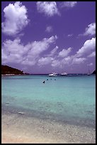 Tropical beach and yachts. Virgin Islands National Park, US Virgin Islands. (color)