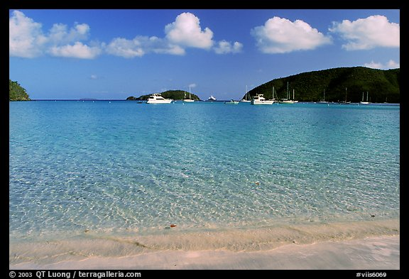 Beach and yachts, Maho Bay. Virgin Islands National Park, US Virgin Islands.