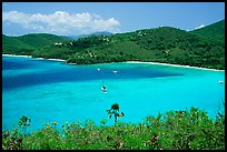 Turquoise waters in Francis Bay with anchored yacht. Virgin Islands National Park, US Virgin Islands. (color)