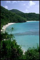 Tropical hills and beach, Hawksnest Bay. Virgin Islands National Park, US Virgin Islands. (color)