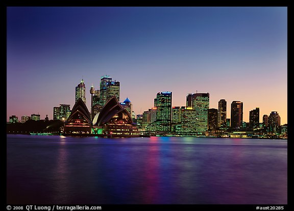 Skyline at sunset with Opera House. Sydney, New South Wales, Australia (color)