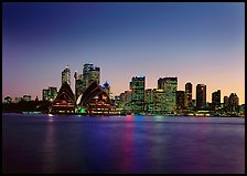 Skyline at sunset with Opera House. Sydney, New South Wales, Australia