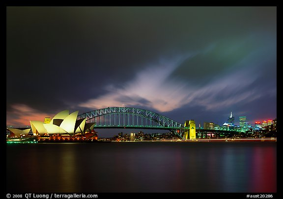 Opera House and Harbor Bridge at night. Australia (color)