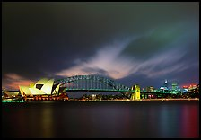 Opera House and Harbor Bridge at night. Sydney, New South Wales, Australia ( color)
