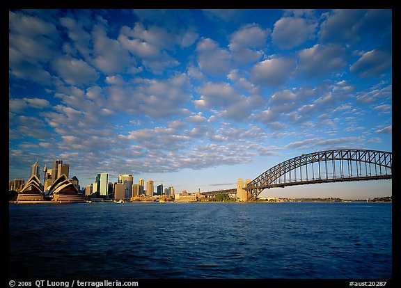 Opera House, skyline, and Harbor Bridge. Australia (color)
