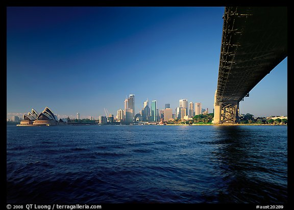 Harbor Bridge from below, skyline, and Opera House. Australia (color)