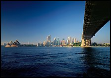 Harbor Bridge from below, skyline, and Opera House. Sydney, New South Wales, Australia