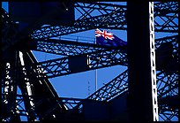 Harbour bridge detail with Australian flag. Sydney, New South Wales, Australia