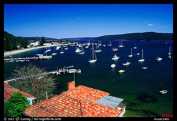 Yatchs anchored in the outskirts of the city. Sydney, New South Wales, Australia (color)
