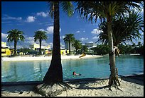 Artificial beach, complete with sand and palm trees. Brisbane, Queensland, Australia
