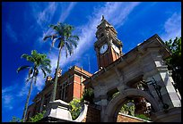 South Brisbane Town Hall, a red brick building with an ornate clock tower and archway. Brisbane, Queensland, Australia (color)