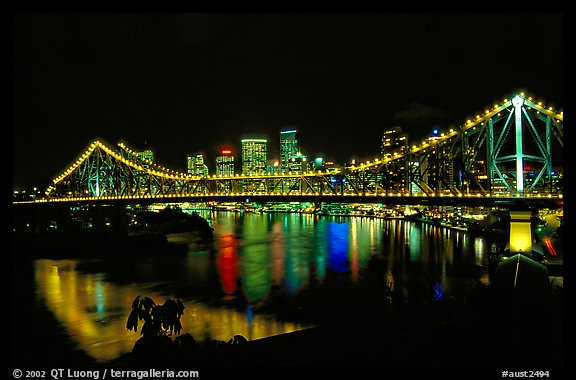Brisbane by night. Brisbane, Queensland, Australia (color)