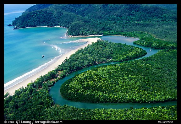 Aerial meandering river in rainforest and beach near Cape Tribulation. Queensland, Australia