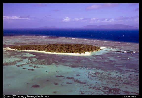 Aerial view of a sand bar  near Cairns. The Great Barrier Reef, Queensland, Australia