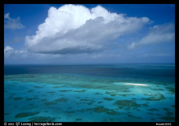 Aerial view of a reef near Cairns. The Great Barrier Reef, Queensland, Australia