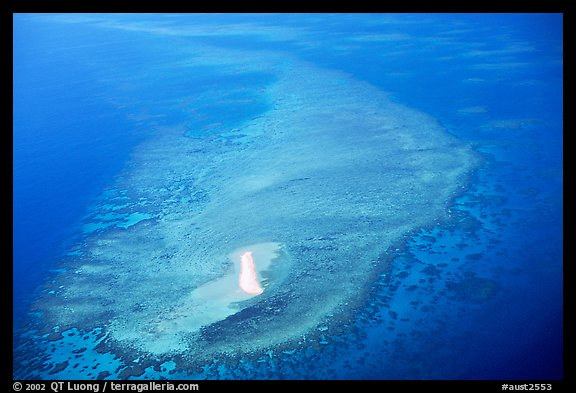 Aerial view of a sand bar and reef near Cairns. The Great Barrier Reef, Queensland, Australia (color)
