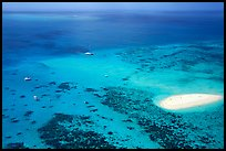 Aerial view of a reef and sand bar  near Cairns. The Great Barrier Reef, Queensland, Australia (color)