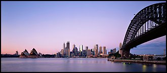 Sydney skyline at dawn. Sydney, New South Wales, Australia (Panoramic color)