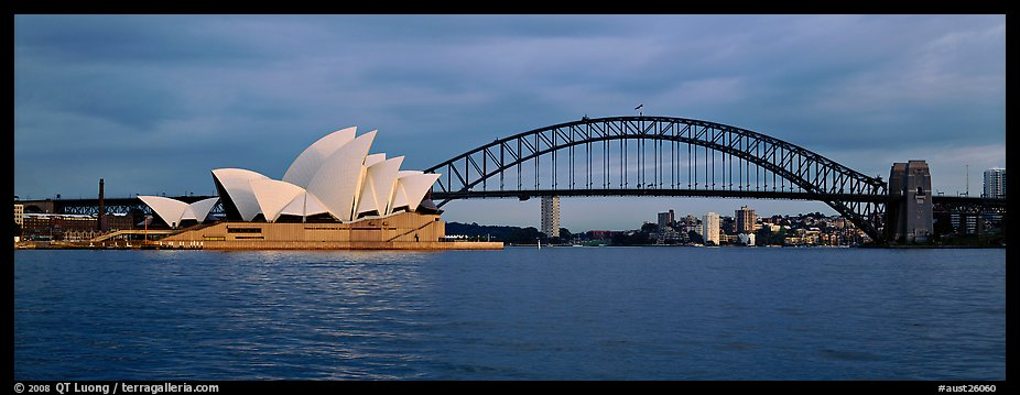 Sydney opera house and Harbor Bridge. Sydney, New South Wales, Australia (color)