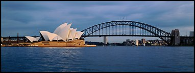Sydney opera house and Harbor Bridge. Sydney, New South Wales, Australia (Panoramic color)