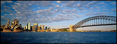 Sydney cityscape from harbor. Sydney, New South Wales, Australia (Panoramic color)