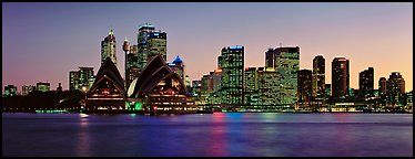 Sydney night cityscape and reflections. Sydney, New South Wales, Australia (Panoramic color)