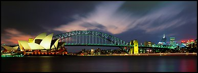 Sydney night view of opera house and Harbor Bridge. Sydney, New South Wales, Australia (Panoramic color)
