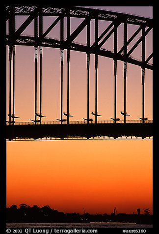 Harbour bridge at sunset. Sydney, New South Wales, Australia (color)