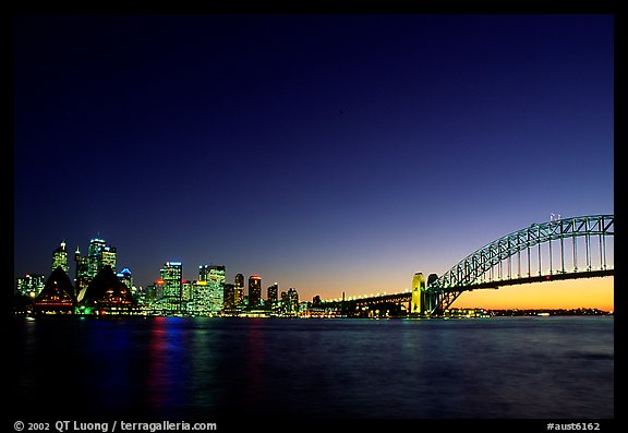 Skyline and Harbour bridge at night. Sydney, New South Wales, Australia (color)