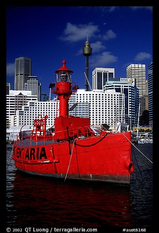 Red boat in harbour. Sydney, New South Wales, Australia