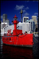 Red boat in harbour. Sydney, New South Wales, Australia (color)