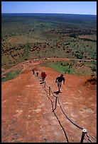 Ascending Ayers Rock. Uluru-Kata Tjuta National Park, Northern Territories, Australia