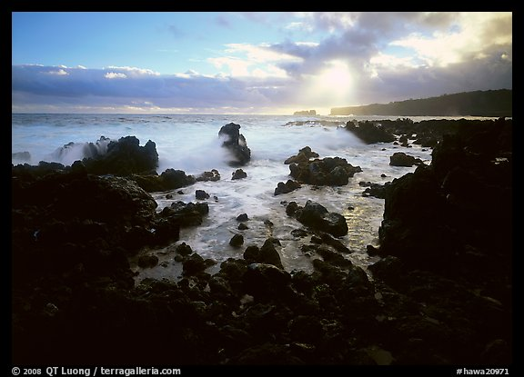 Rocks and surf at sunrise, Keanae Peninsula. Hawaii, USA (color)
