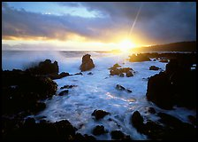 Sun and surf over rugged rocks, Kenae Peninsula. Maui, Hawaii, USA (color)