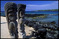 Polynesian god statues in Puuhonua o Honauau (Place of Refuge). Big Island, Hawaii, USA (color)