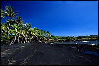 Black sand beach at Punaluu. Big Island, Hawaii, USA