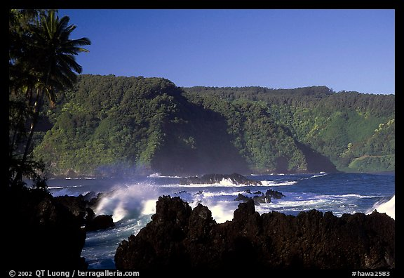 Steep Hana coast seen from the Keanae Peninsula. Maui, Hawaii, USA