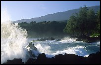 Crashing wave, Keanae Peninsula. Maui, Hawaii, USA ( color)
