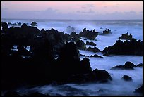 Rocks and surf, dawn, Keanae Peninsula. Maui, Hawaii, USA
