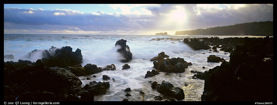 Seascape with jagged rocks and surf. Maui, Hawaii, USA (color)