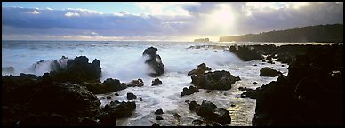Seascape with jagged rocks and surf. Maui, Hawaii, USA (Panoramic color)