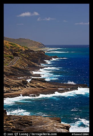 Coastline and highway, South-East. Oahu island, Hawaii, USA