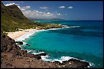 Makapuu Beach and turquoise waters, mid-day. Oahu island, Hawaii, USA (color)