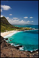 Makapuu Beach and bay. Oahu island, Hawaii, USA (color)