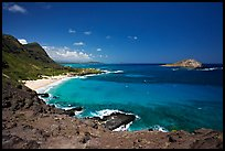 Makapuu Beach and Rabbit Island. Oahu island, Hawaii, USA (color)