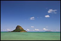 Chinaman's Hat Island and Kaneohe Bay. Oahu island, Hawaii, USA (color)