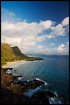 Coastline and Makapuu Beach, early morning. Oahu island, Hawaii, USA